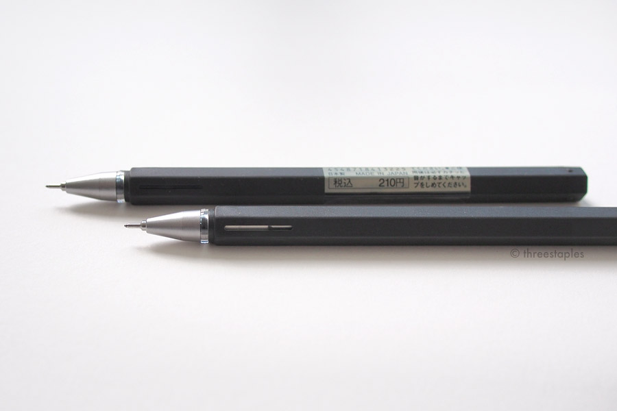 The barrel has a slim window near the tip so you can see the ink level. As you can see, the pen in the foreground without the product label is low in ink. Smart design!