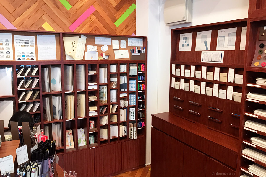 Corner for letter writing supplies, with envelopes and various accessories like labels, stickers, pens, etc. On the right is where you learn about the different kinds of paper you can choose for your custom notebooks.