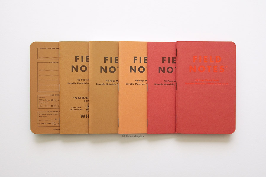 """Same paper (from left): Inside cover of  Shenandoah 's """"Chestnut Oak"""",  National Crop 's """"Wheat"""", Mackinaw Autumn (brown), Mackinaw Autumn (orange), Mackinaw Autumn (red), and  Sweet Tooth ."""