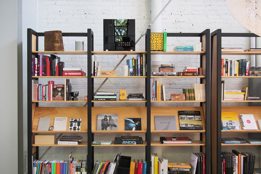A small library of a variety of books. Of course there were lots of design books, including the  newest one from House Industries . Also spotted:  Urbanlike magazine .