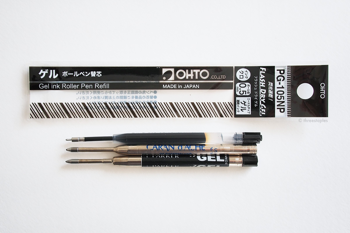From top: Ohto PG-105 NP gel refill (black, 0.5 mm), Caran d'Ache Goliath refill, Parker Quink Gel refill.