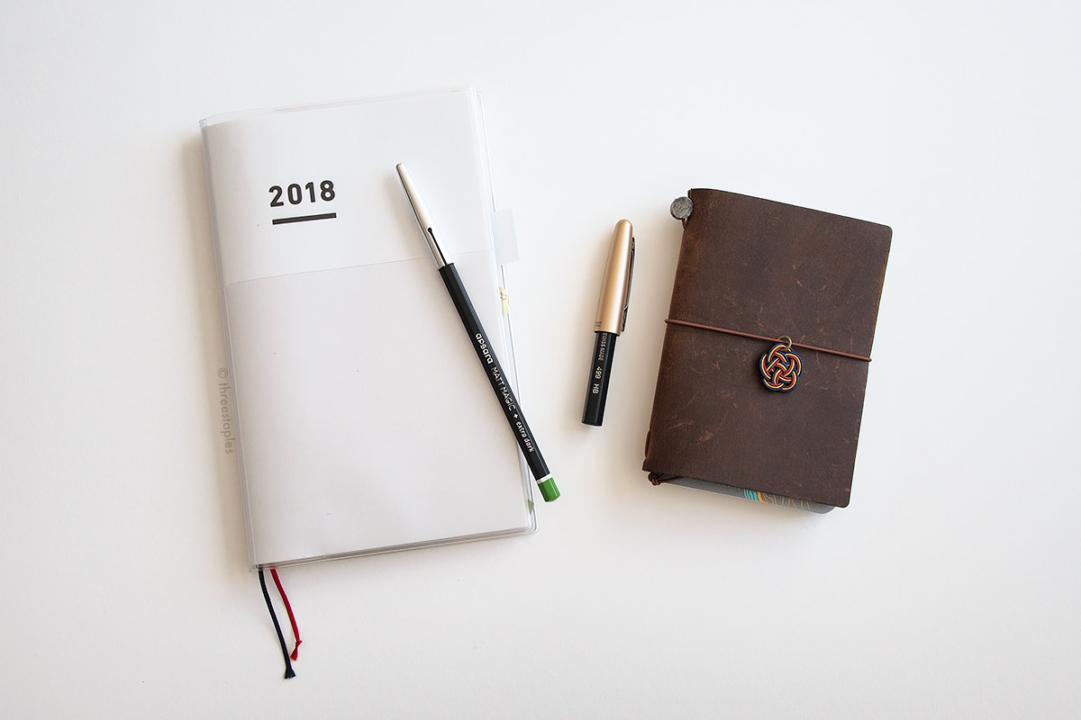 These days, I use pencils mostly in my planner (Jibun Techo, left) and Field Notes (inserted in Traveler's Notebook cover on the right). Inspired by  Tim Wasem  on  Erasable Podcast , I put Pilot Metropolitan fountain pen cap on Black Wood. The fit is a tad loose, but it'll do for now.