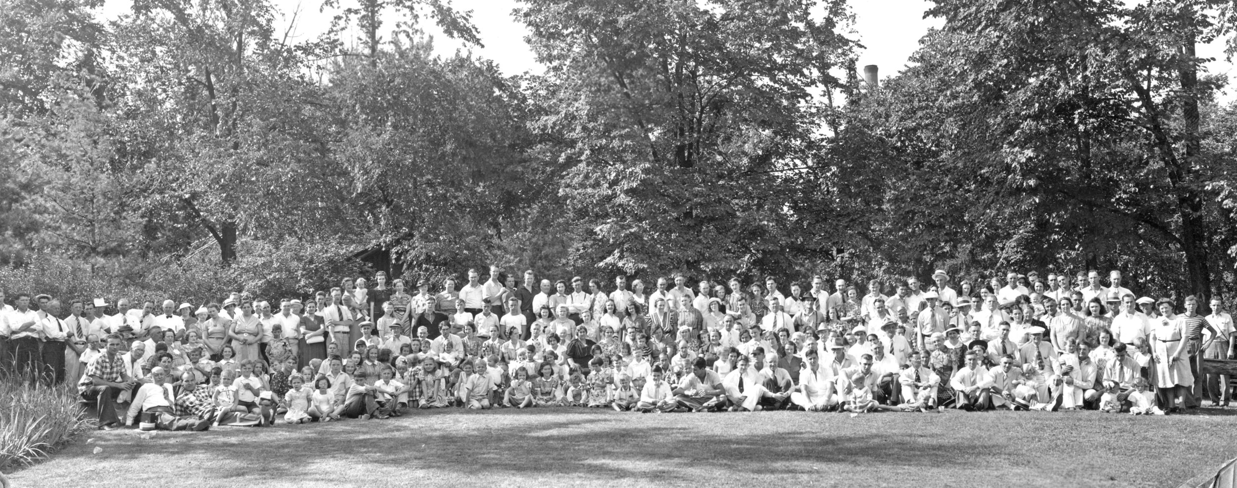 "This is the ""grand assembly"" of all mill workers and their families from the 1939 picnic held in the park."