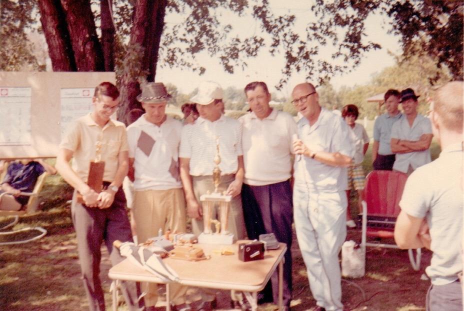 1964 WCSR Golf tournament at Hillsdale County Country Club - from left: John Auseon, dale brott, john savarino, al jett, sr., & wcsr's george devenney