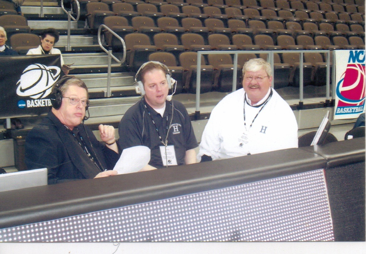 parke hayes, brad mont & Jim eckhardt broadcasting a basketball game from Hillsdale college