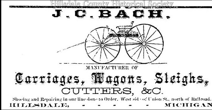 This advertisement was in the 1872 Hillsdale Business Directory.
