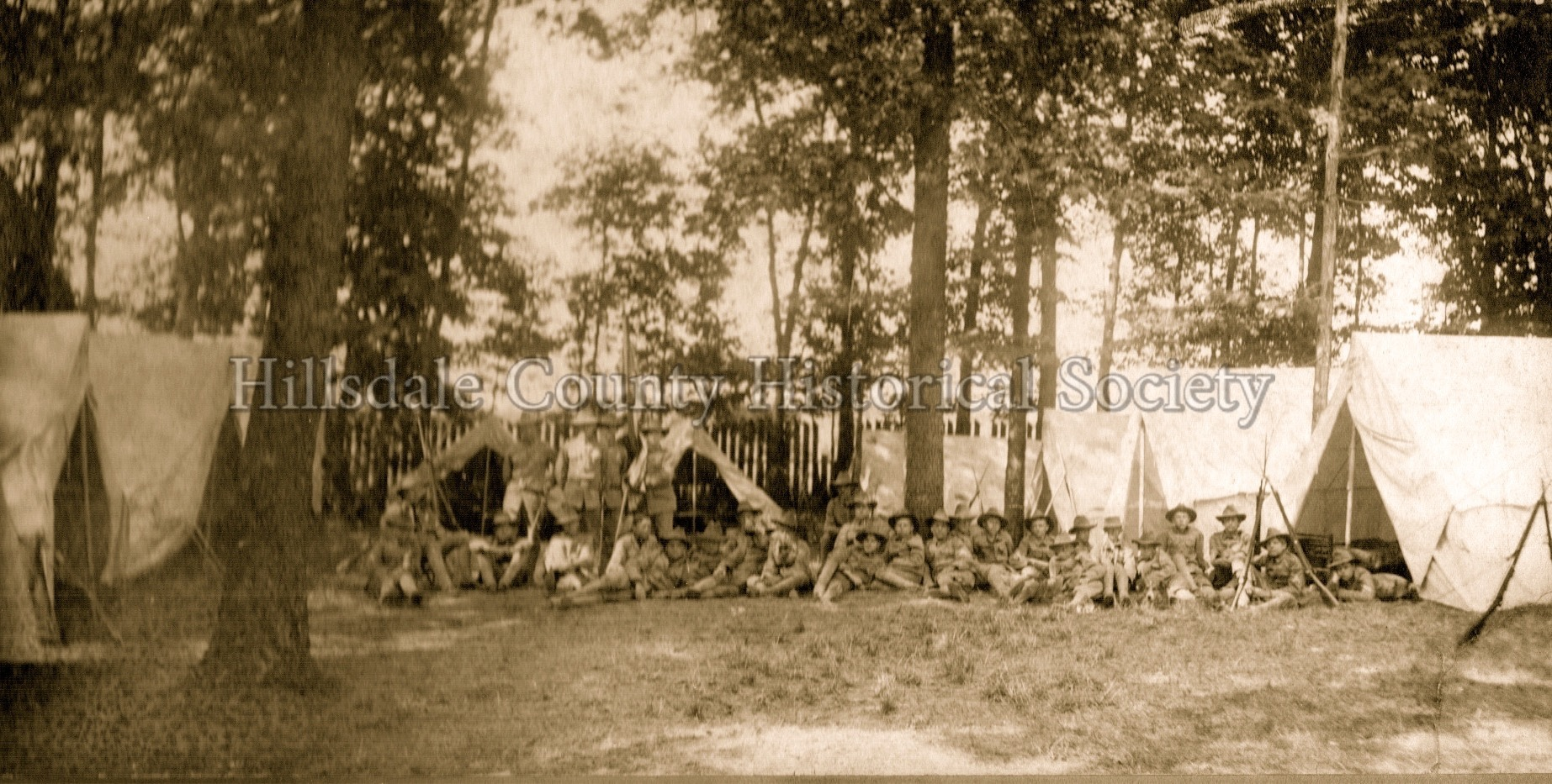 Michigan skirmishers in camp at baw beese lake - 1905