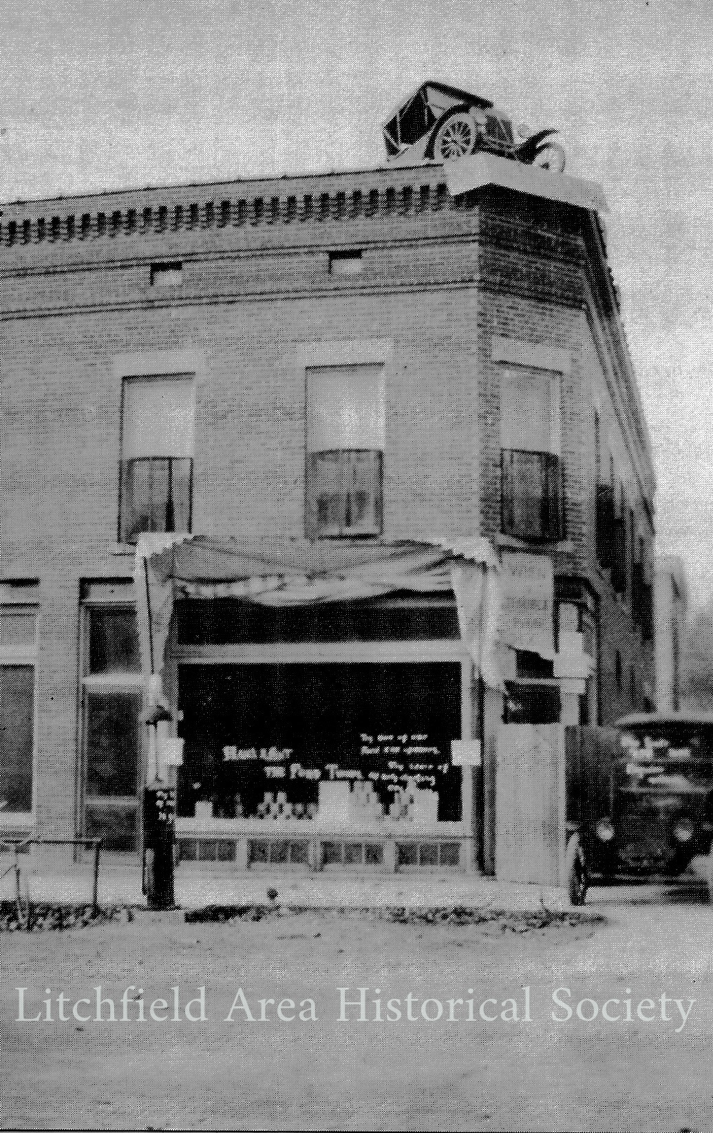 According to Chuck Lindsley, two of the rapscallions who put the car  on  top of the building were his dad, Merritt Lindsley, and Merrill Swope. The Lindsleys reportedly came to Hillsdale County in 1850.