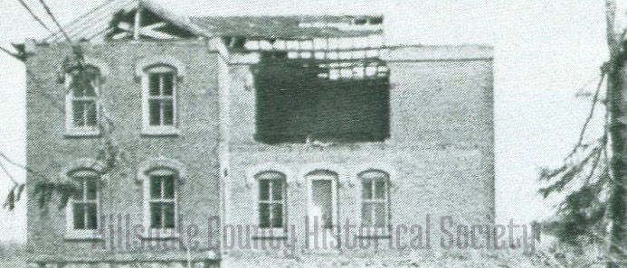the bates home near steamburg road was blown apart in the tornado. The bricks were reunsed to build the new home.