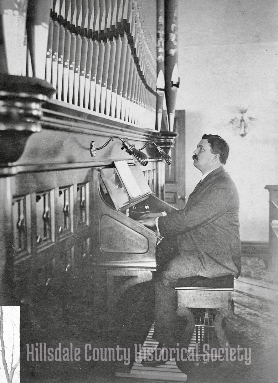 Fred Thatcher, organist at the First Presbyterian Church. The new church organ was donated by Mrs. Charles T. (Harriett) Mitchell after the devastating fire of 1899