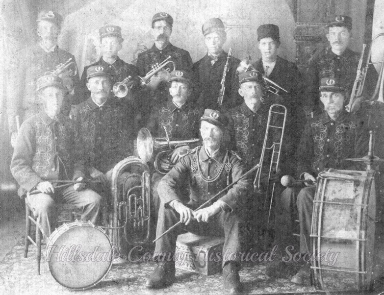 The frontier band included mart foster, leader, charley swift on bass drum, merl fowler on snare drum, durell fowler on alto horn and charley flower on cornet.