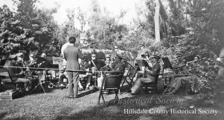the hillsdale swing band playing at the stock's mill picnic at stock's park in 1939