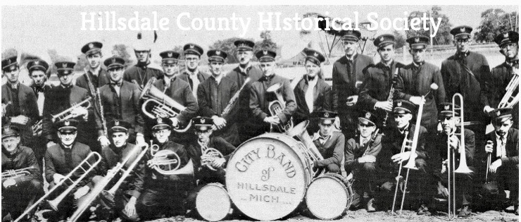 the hillsdale city band, for over 20 years directed by william lint, was an outgrowth of the alamo Engine company band. They played every week during the summer months from a bandstand in the court house square.