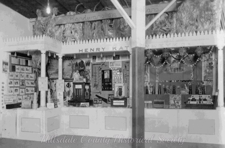 Local merchants' displays, such as that of henry katzenmeyer's hardware store were once quite popular