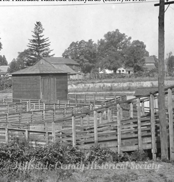 the hillsdale railroad stockyards in 1918