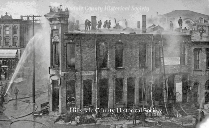 the yarick bindery fire of 1914 wreaked havoc on the southern end of the waldron block. shown above is the corner of north broad and mccollum streets. in the reat, at the right, is the third floor of the underwood opera house on howell street.