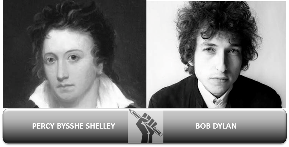 """As Bob Dylan has finally accepted his Nobel Prize, (though not yet given his Nobel performance) I was reminded of the essay In Defence of Poetry by Percy Bysshe Shelley, in which he claimed that:   """"poets are the unacknowledged legislators of the world.""""   Shelley saw it as his mission to redress political and social evils through poetry. In the early nineteenth century, poetry was part of pop culture, albeit a sophisticated culture only available to the intelligentsia and upper classes.  His poem The Mask of Anarchy, for instance, is a response to the Peterloo Massacre of 1819 in Manchester, when solders fired into a peaceful protest which was calling for democratic reform.   Rise like lions after slumber In unvanquishable number Shake your chains to earth like dew Which in sleep had fallen on you – Ye are many – they are few.   In The Times they are a-Changin', Dylan echoed Shelley's call to the underdog: For the loser now/will be later to win/For the Times they are a-changin'  As I research more into the Romantic period I am continually struck by the plus ca change, plus sa meme chose nature of human and social behaviour. Though poetry is not such a potent force this century, its mission, as Shelley envisaged it, has migrated into mass culture by means of the singer-songwriter. Dylan, is, of course, an exemplar of songwriting as a means of social and political protest. Blowing in the Wind is equally powerful and memorable poetry:   Yes, and how many ears must one man have Before he can hear people cry? Yes, and how many deaths will it take 'til he knows That too may people have died? The answer, my friend, is blowin' in the wind The answer is blowin' in the wind   Shelley thought of poetry as instinctive. He spoke of the poetical process as the  """"… power of communicating and receiving intense and impassioned conceptions respecting man and nature.""""  Dylan echoed this when he remarked,  """"Well you know, I just thought I was doing something natural.""""   Many songwrite"""