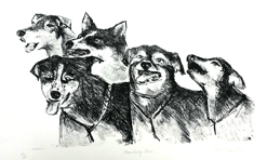 """""""Mushing Time"""" / Aluminum plate Lithograph technique  Price: $53  /Image approx 14"""" x 9.5"""" / 19"""" x 12.5"""""""