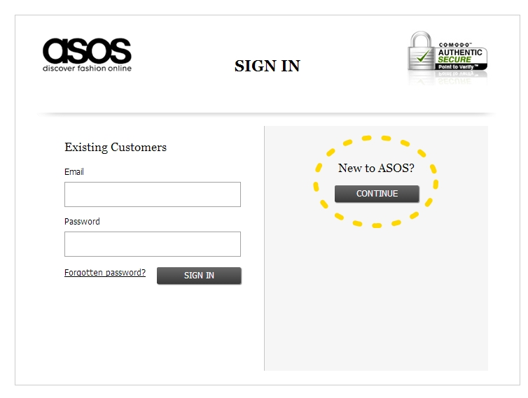 按完PAY NOW 會跳到這個畫面 , 第一次註冊要按黃色圈圈的 New to ASOS 等以下步驟都完成後 以後就直接 按左邊的 email 和密碼就行囉!