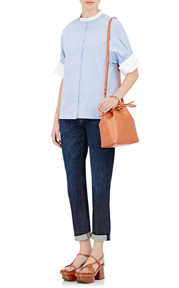 MANSUR GAVRIEL Mini Bucket Bag (焦糖色藍底)