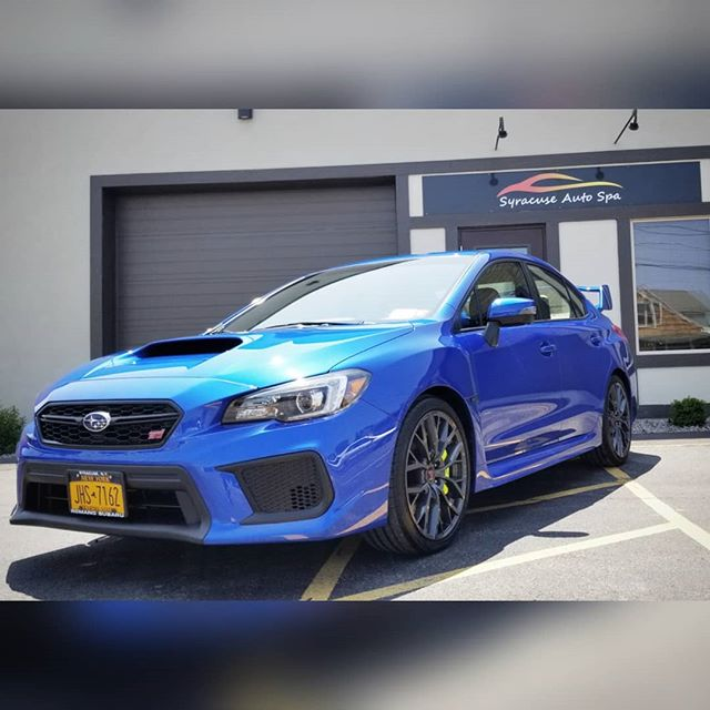2019 Subaru WRX STi - Full front end, headlights, and rockers wrapped in PPF - Multi-stage paint correction - Coated in GYEON Mohs+ 💎💙💎💙 #detail #detailing #detailingworld #syracuseautodetailing #syracuseautospa #syracuse #cnydetailing #cny #nyautodetailing #rupesbigfoot #rupes #rupesusa #markiii #paintcorrection #paintfinishing #gyeon #gyeonquartz #gyeoncertifieddetailer