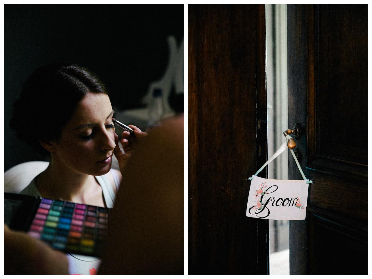 Hochzeits-Make-Up-Ankleiden