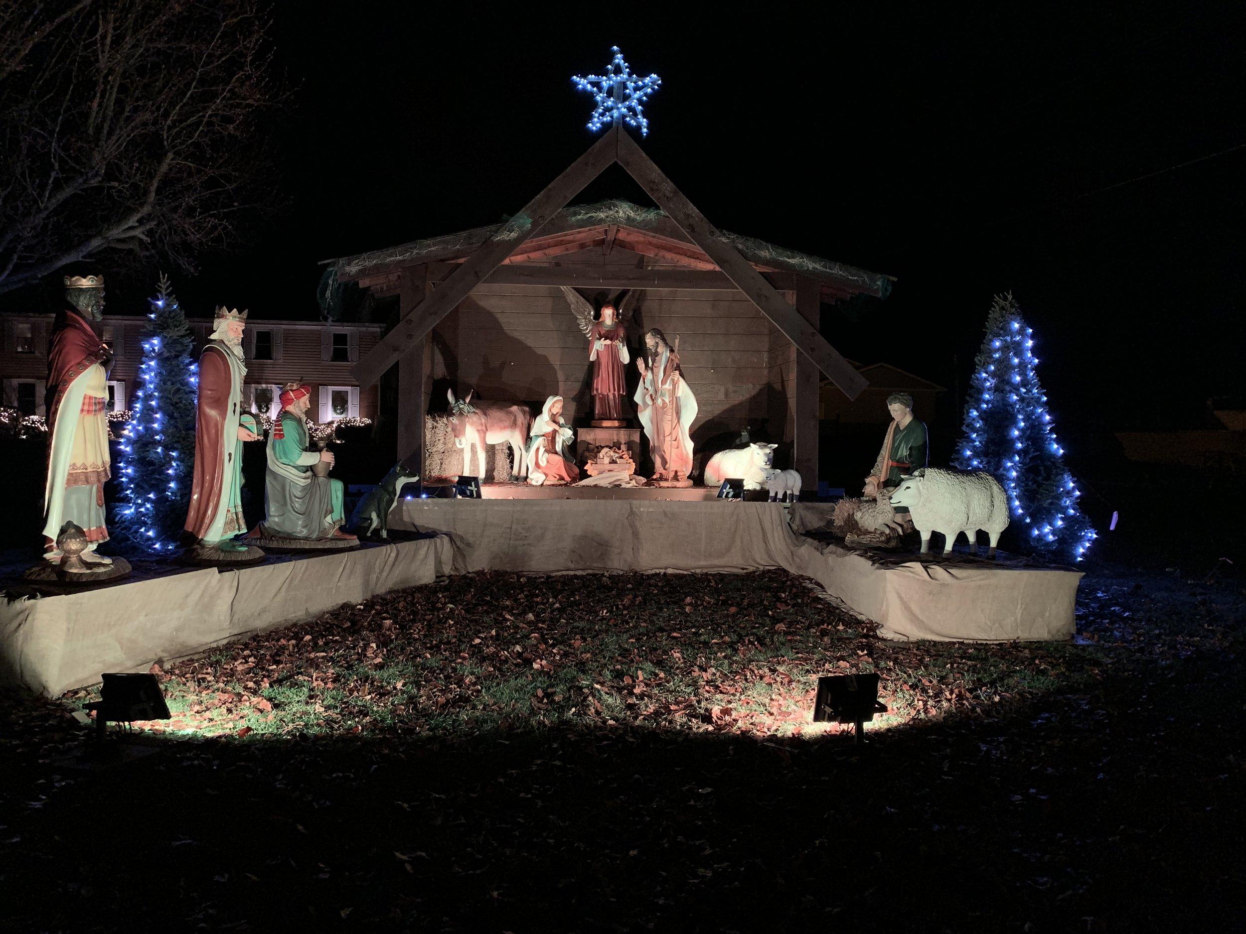 The outdoor nativity scene from Blessed Sacrament parish in Wintersville, Ohio.