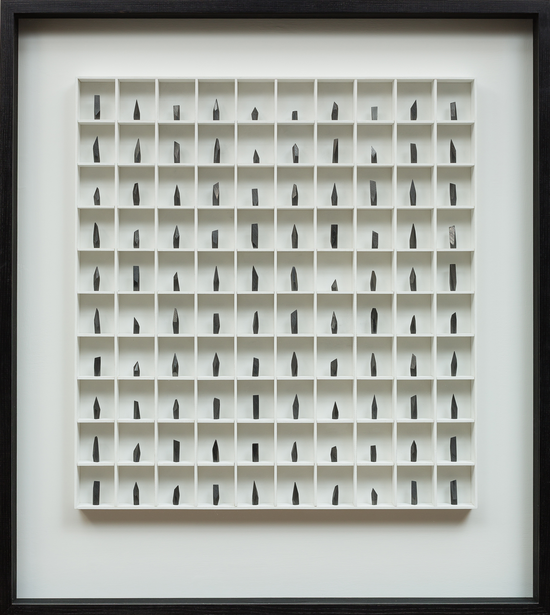 A Poem, A love Letter & A Prayer - 100 pieces  graphite & wood construction   100 x 8 x 120 cm