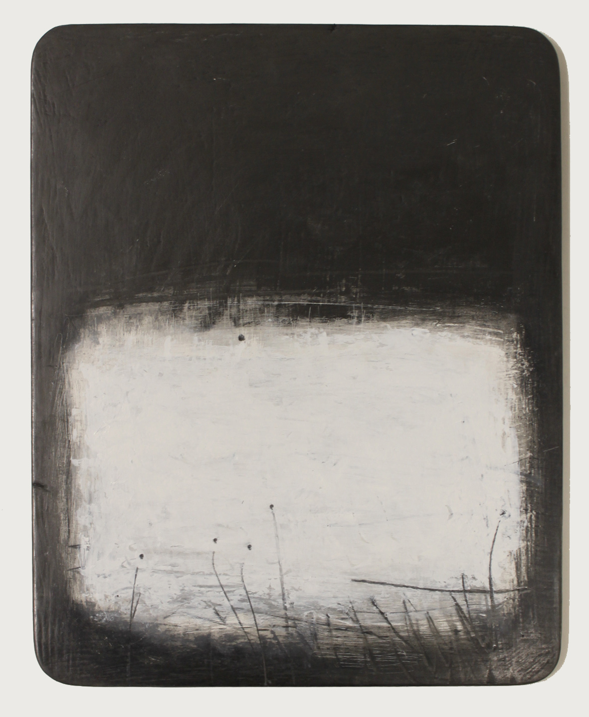 untitled space 5. oil & graphite on wood  17 x 22cm