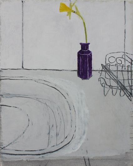 washroom. oil & graphite on canvas  36 x 48 cm