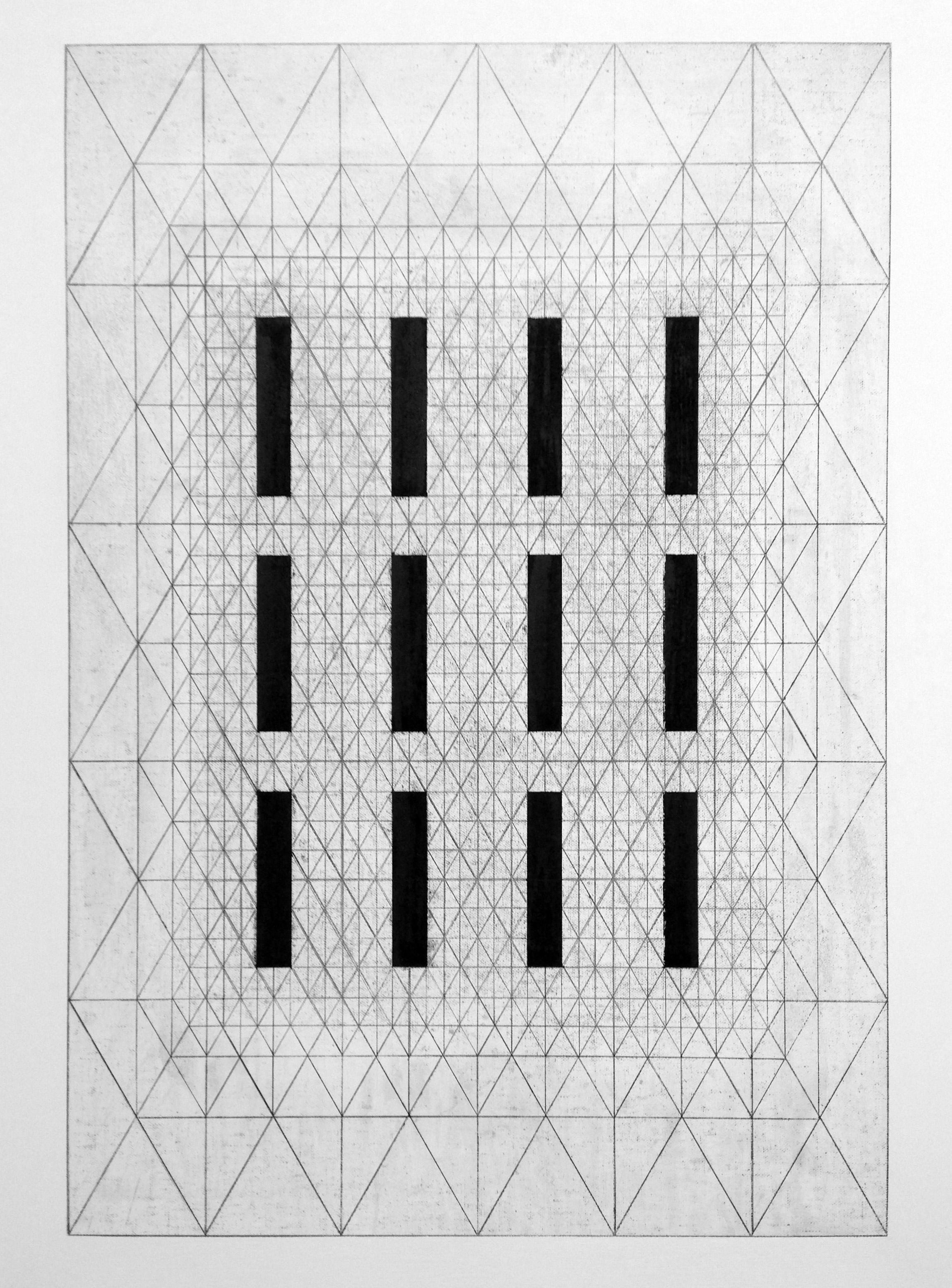 12 lines - graphite drawing graphite & graphite dust