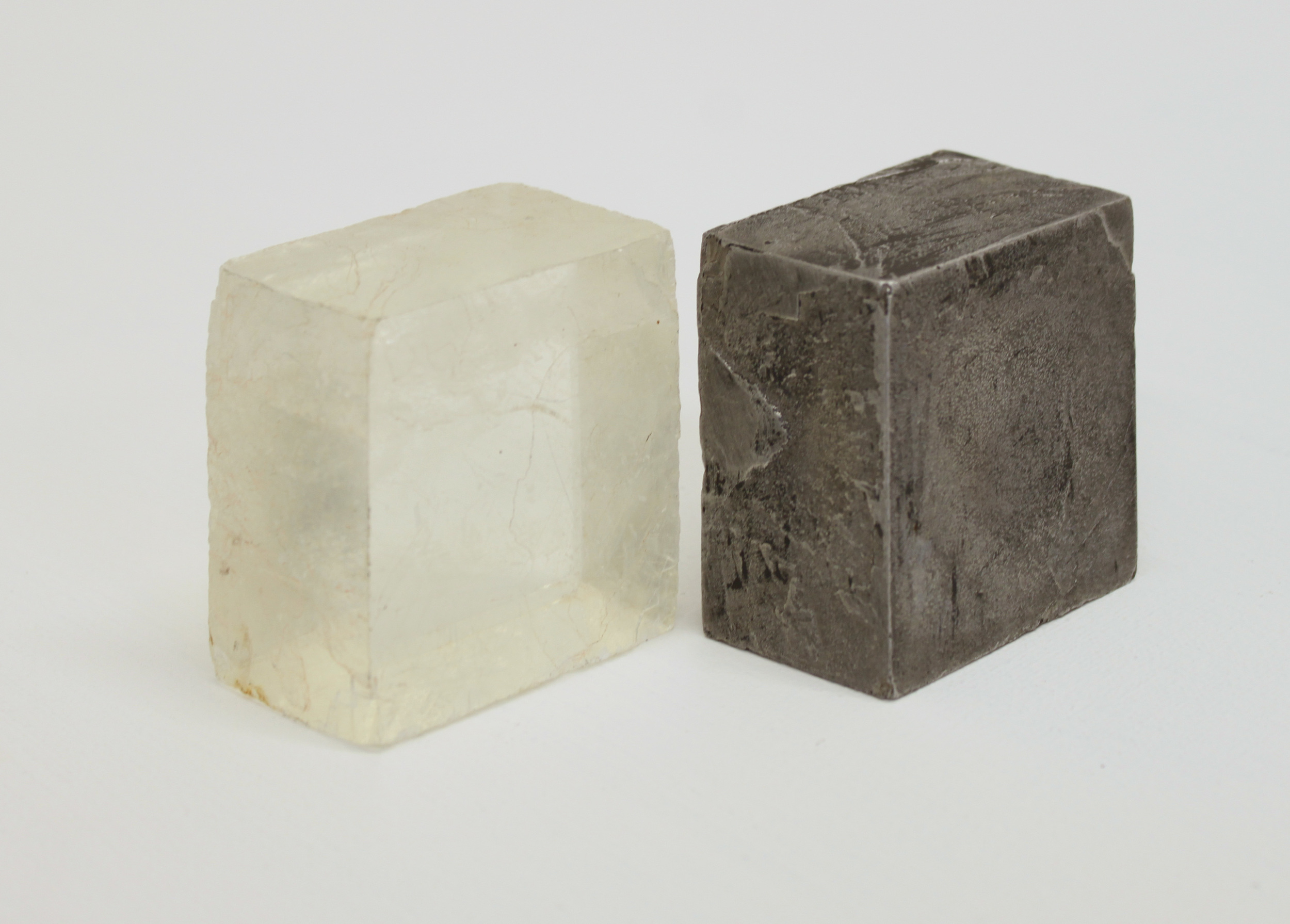 Replica  cast found object - Calcite crystal crystal & aluminium 10 x 9 cm