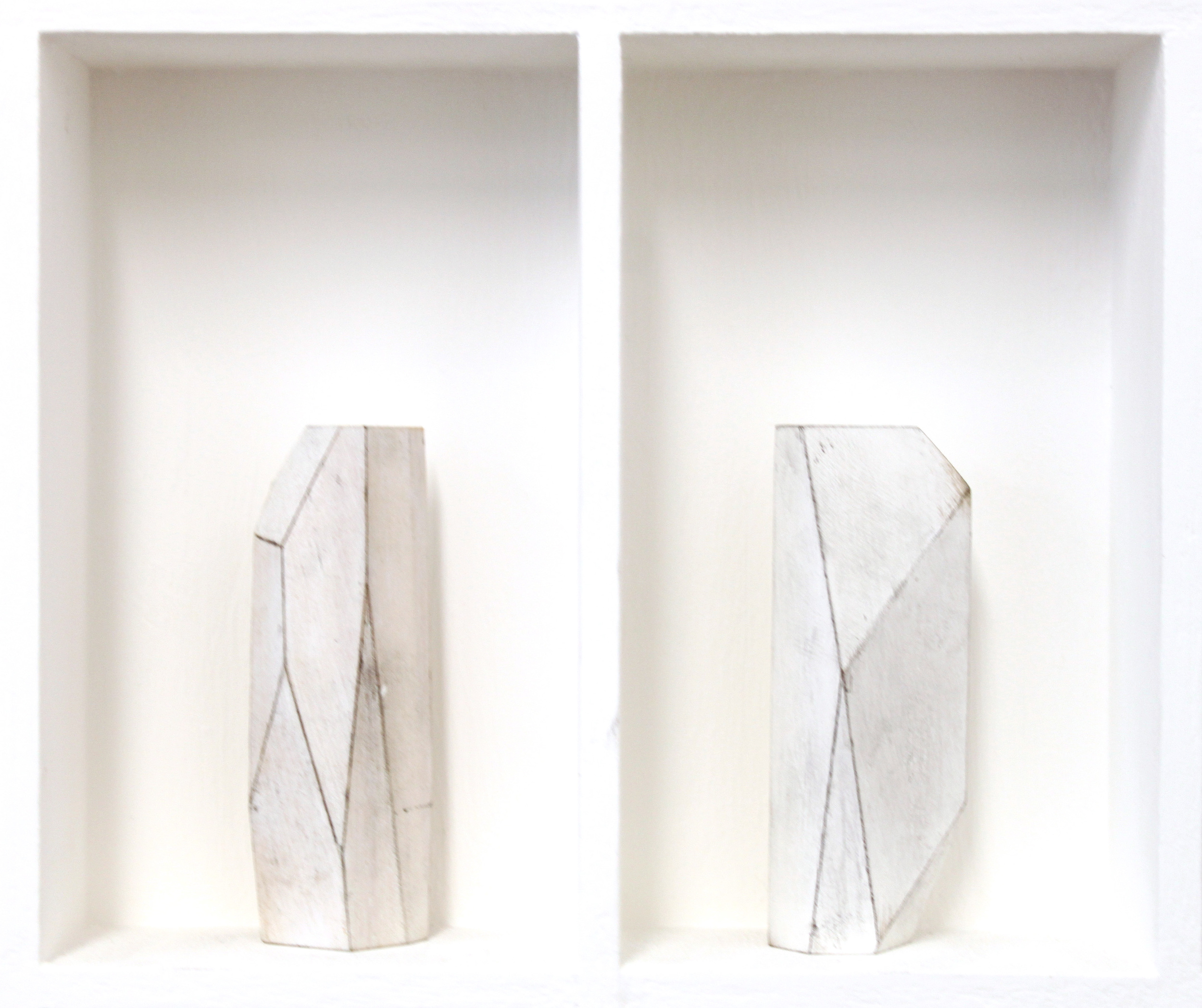Untitled Form - White wood in wood construction 5 x 9 cm