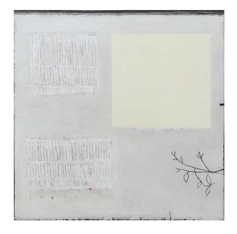 Daylight | Perfume | Wild Honeysuckle 40x40cm oil graphite & gouache on canvas on solid wood block