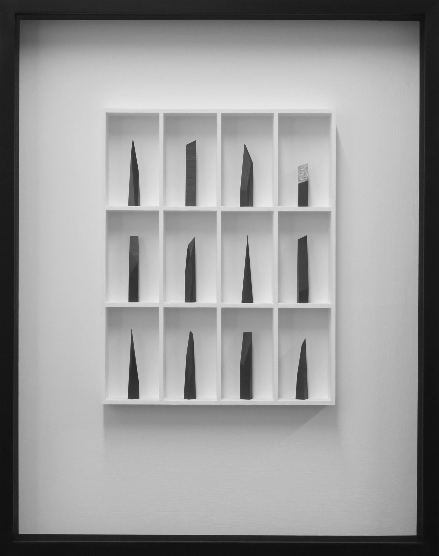 12 pieces - the edge of silence 60.5 x 7 x 77cm graphite in wood construction