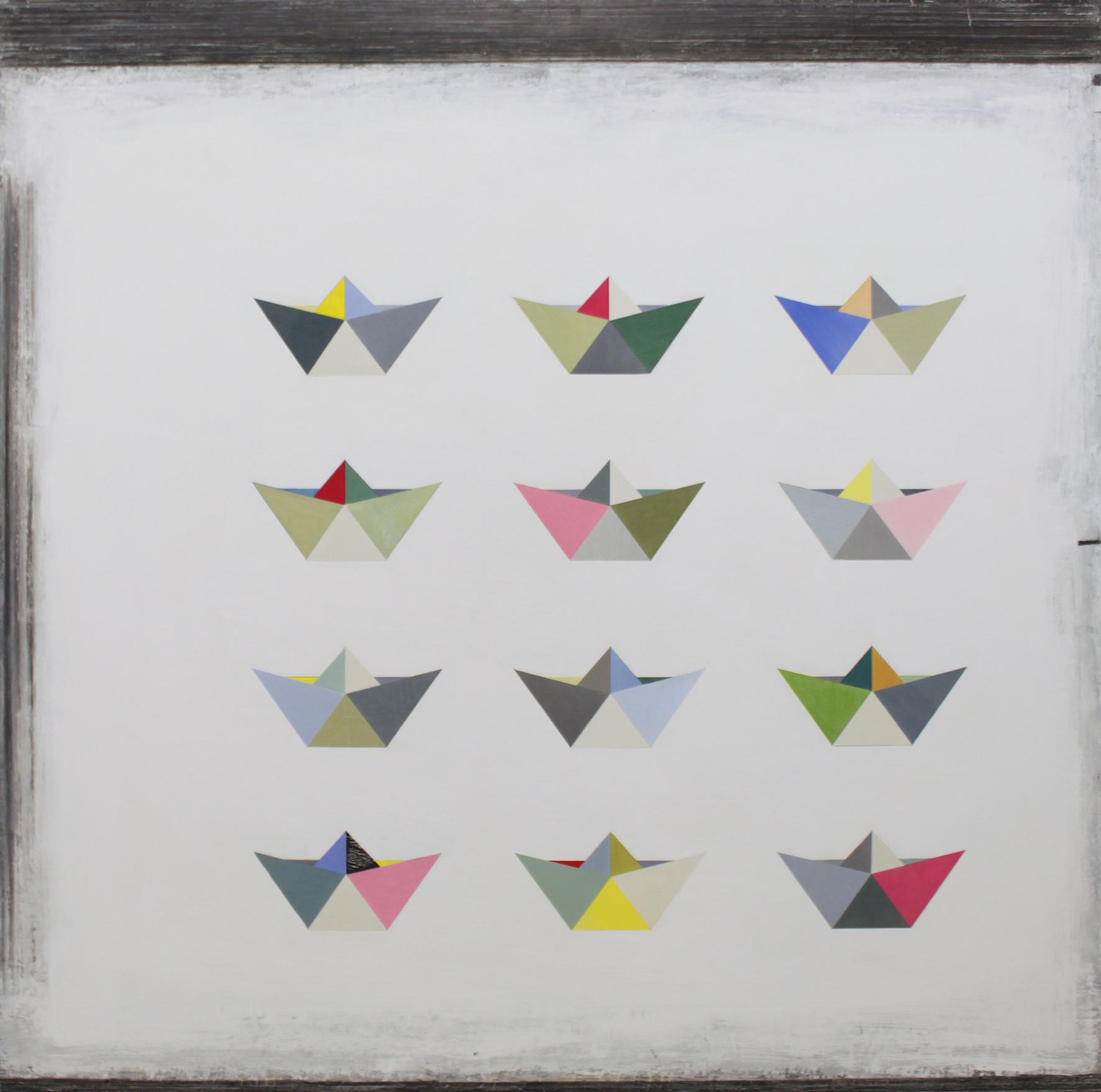 12 Origami boats 100x100cm oil gouache & graphite on canvas