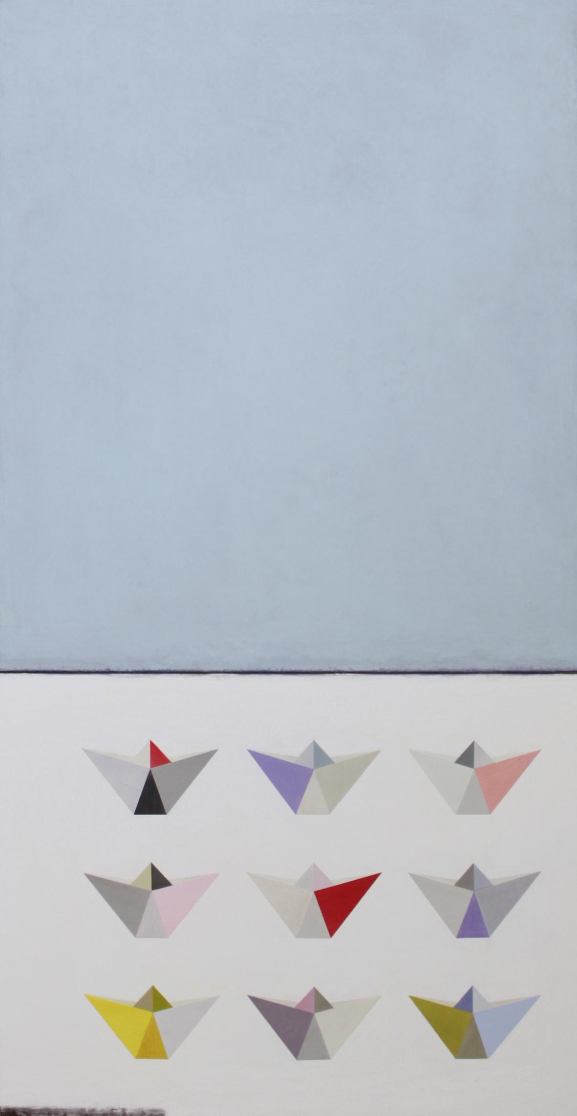 9 Origami boats 62x122cm oil gouache & graphite on canvas