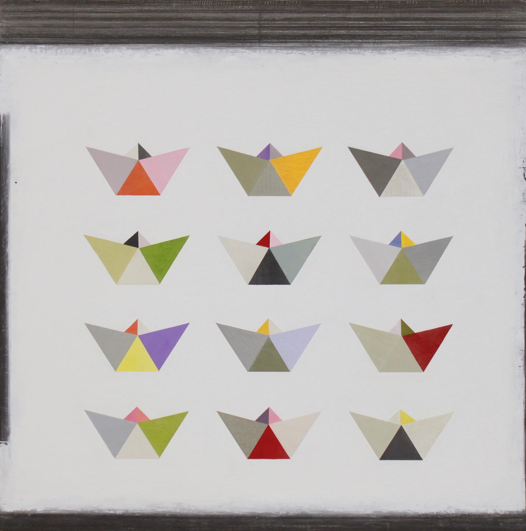 12 origami boats 60x60cm oil gouache & graphite on canvas