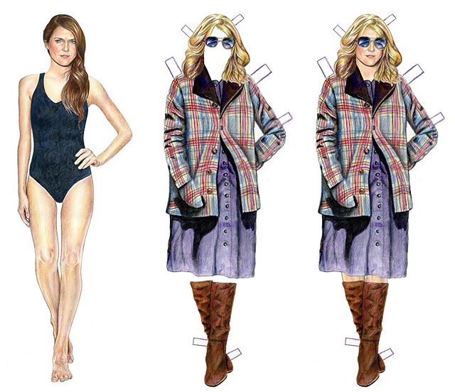 4/5 #theamericans spy costume! Only one left to go! #paperdolls #kerirussell #elizabethjennings #illustration #drawing #coloredpencil #art #mixedmedia #justforfun