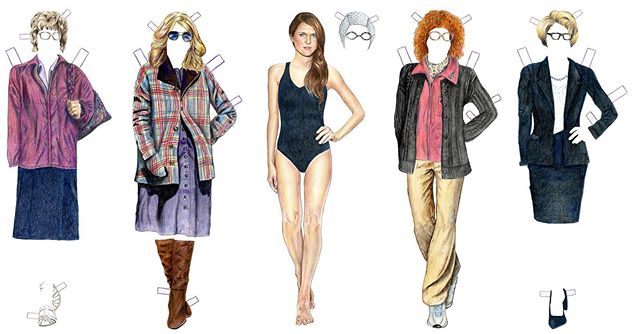 All together now... the Elizabeth Jennings spy disguises paper dolls! @theamericansfx #theamericans #elizabethjennings #kerirussell #illustration #paperdolls #drawing #coloredpencil #art