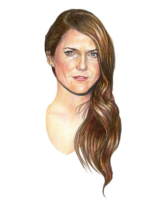 Face close-up #kerirussell #portraits #celebrity #illustration #art #drawing #coloredpencil #theamericans #elizabethjennings