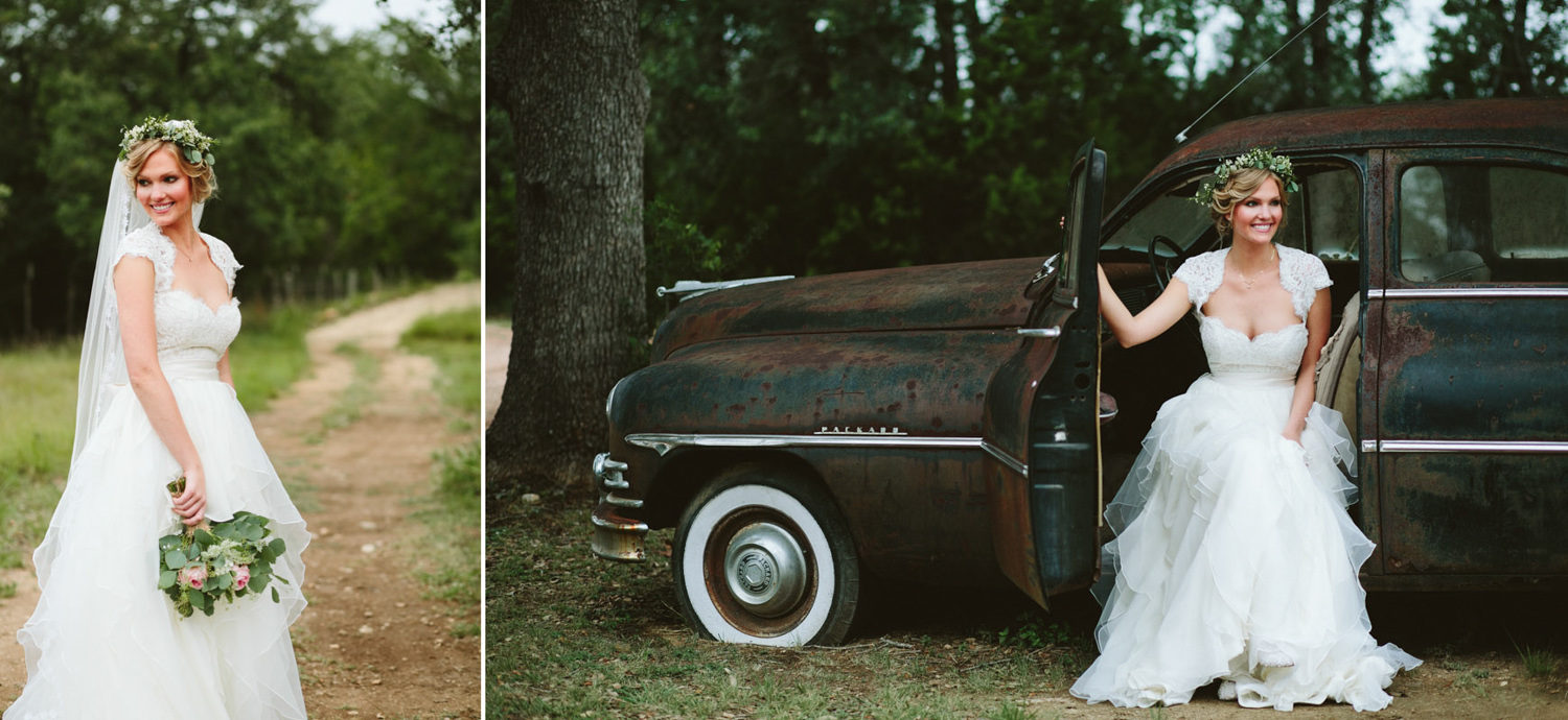 Bridal Portrait with Vintage Car | Lisa Woods Photography
