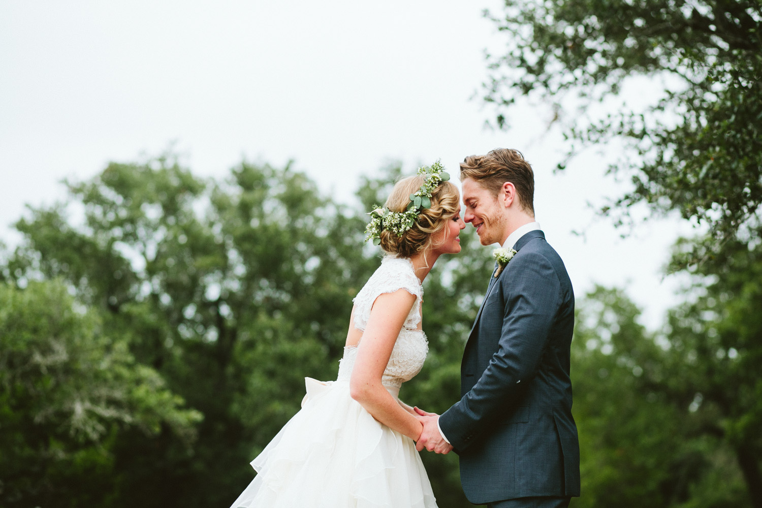 Bride with Flower Crown and Groom | Lisa Woods Photography