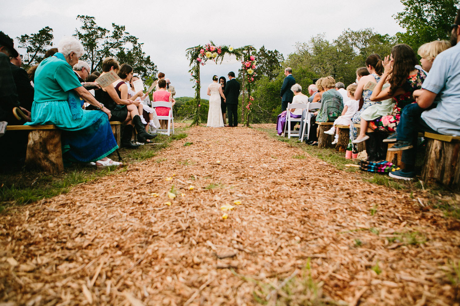 Wood Chip Aisle   Home Ranch Wedding   Lisa Woods Photography