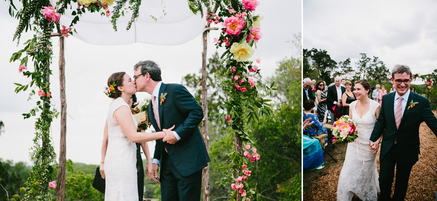 Beautiful Floral Altar for Outdoor Wedding Ceremony   Home Ranch Wedding   Lisa Woods Photography