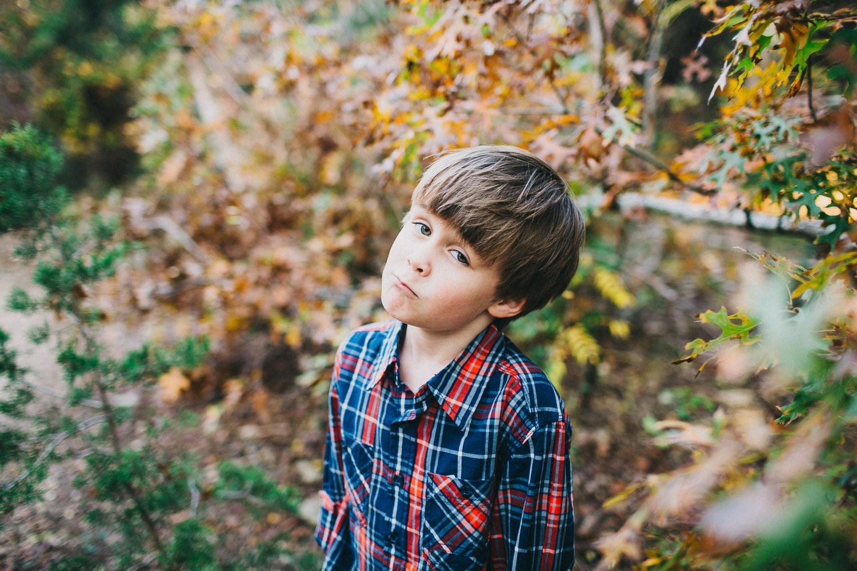 Boy in Plaid Shirt   Austin Fall Family Portraits   Lisa Woods Photography