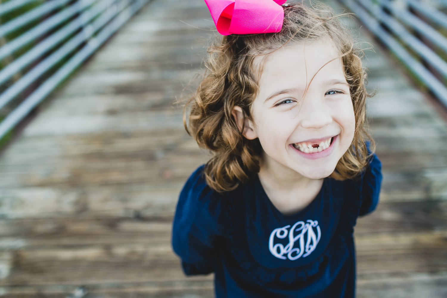 Little Girl with Pink Bow and Monogram Dress | Fall Holiday Family Portraits | Lisa Woods Photography