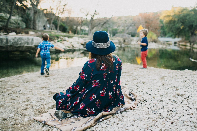 Boys Skipping Rocks at Bull Creek Park Austin Texas | Lisa Woods Photography