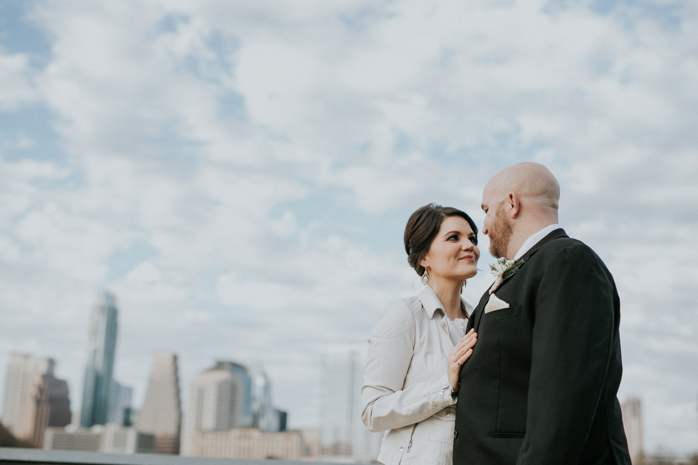 bride and groom at austin boardwalk
