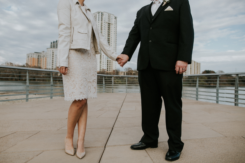 austin boardwalk wedding couple